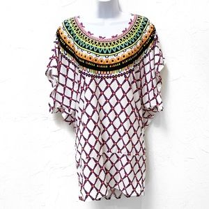 Trina Turk Geometric Print Tunic Top Size Large